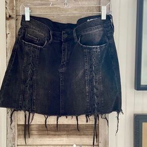 BLANKNYC black lace up denim mini